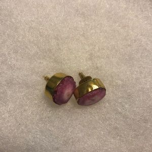 Real Stone Pink Purple Statement Stud Earrings